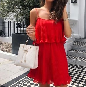 Zara Pleated Dress Spaghetti Straps Red 7200/109